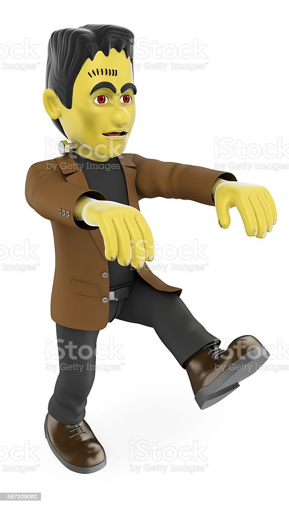 3D Funny monster. Frankenstein walking. Halloween stock photo