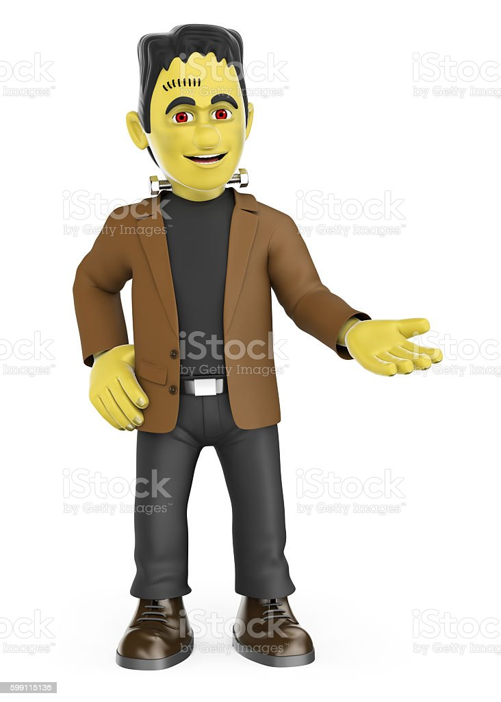 3D Funny monster pointing aside. Blank space. Halloween stock photo