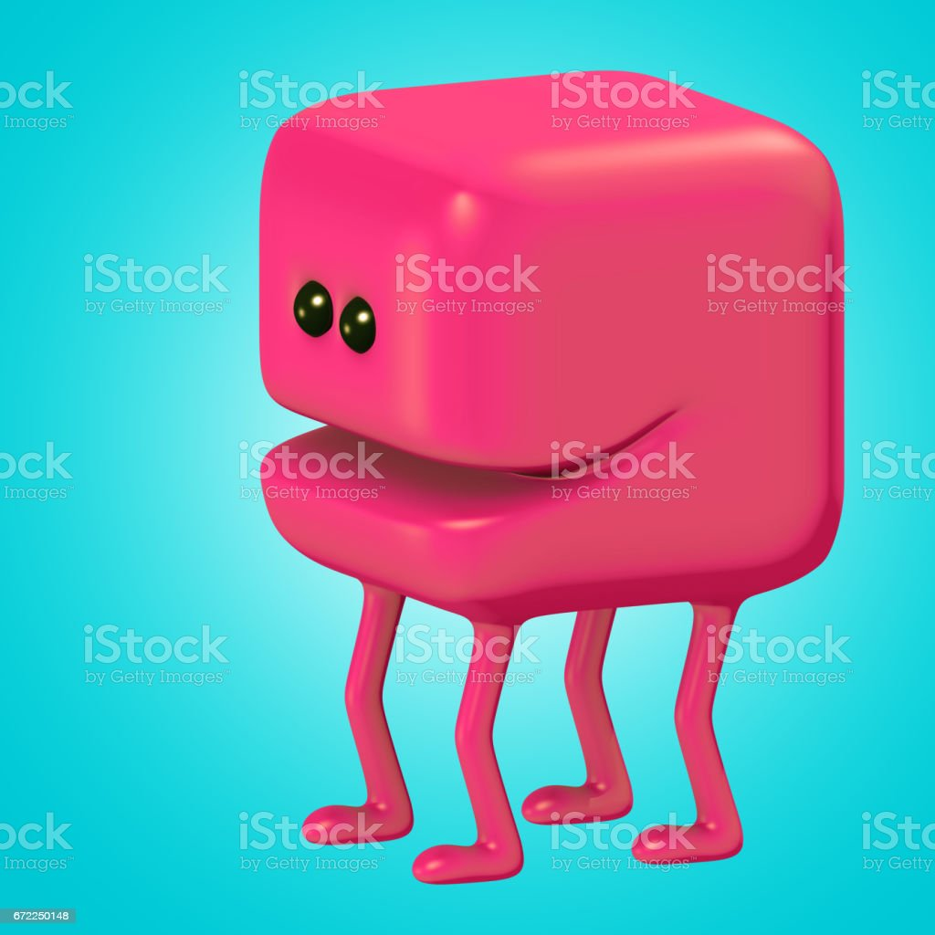 Funny monster smiling red cube on legs. 3d illustration. stock photo