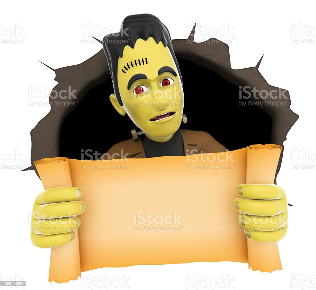 3D Funny monster with a blank papyrus. Halloween stock photo