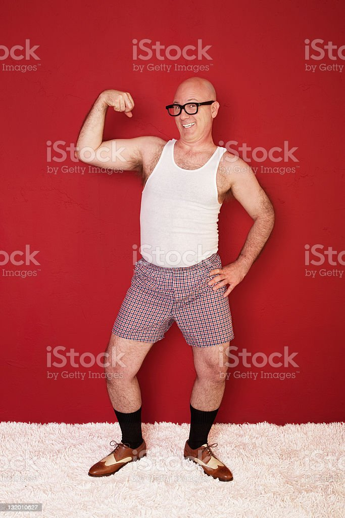 Funny Muscular Man stock photo