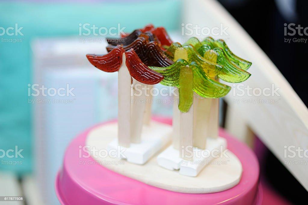 Funny mustache-shaped lollipops on a sticks stock photo