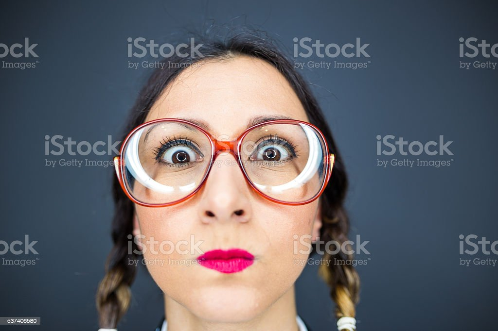 Funny nerd woman stock photo