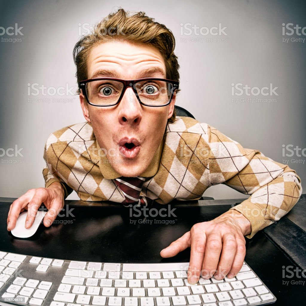 Funny Nerdy Guy stock photo