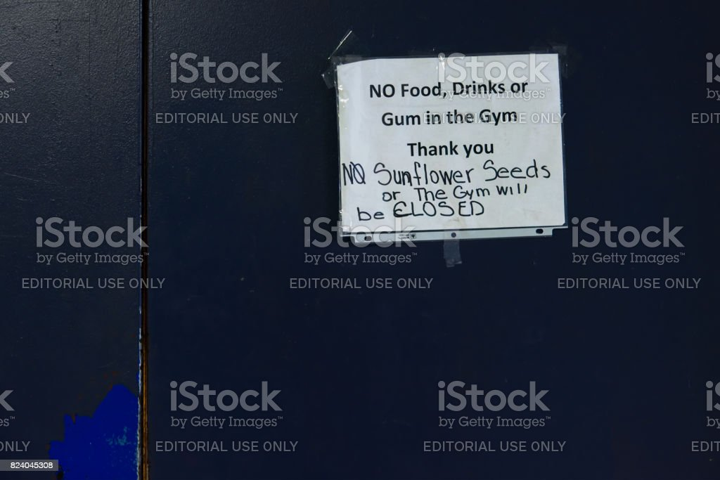 Funny Note on Gym Door stock photo