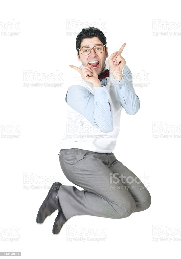 Funny office worker jumping up isolated on white background stock photo