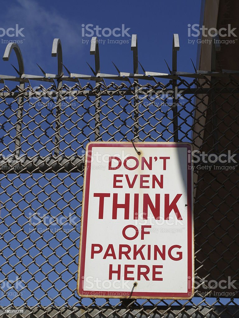 Funny parking sign stock photo