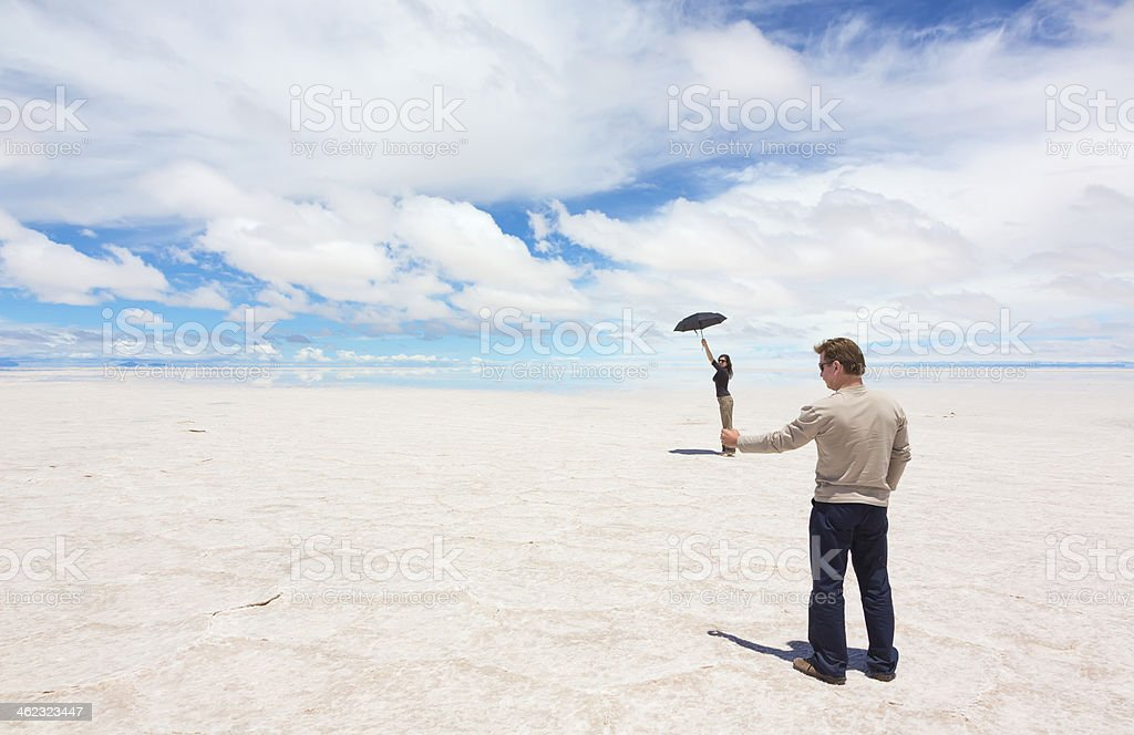 Funny photo because of spatial perspective stock photo