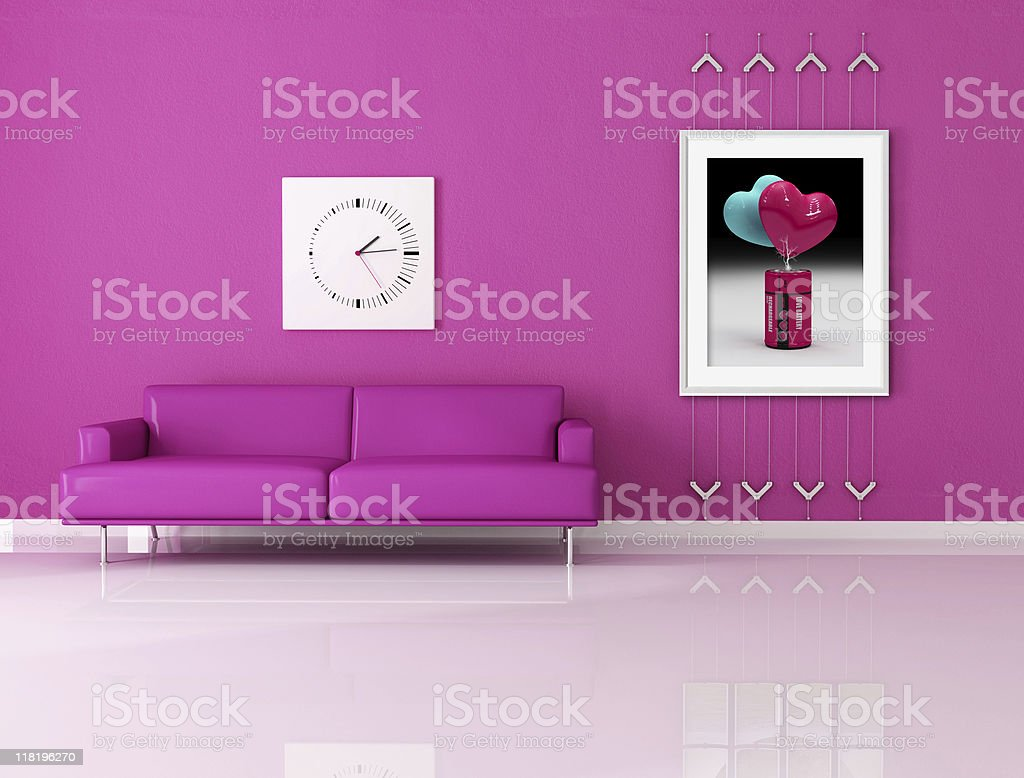 funny pink living room royalty-free stock photo