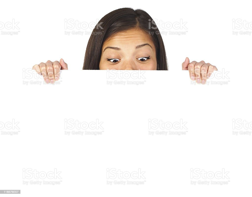 Funny placard woman royalty-free stock photo