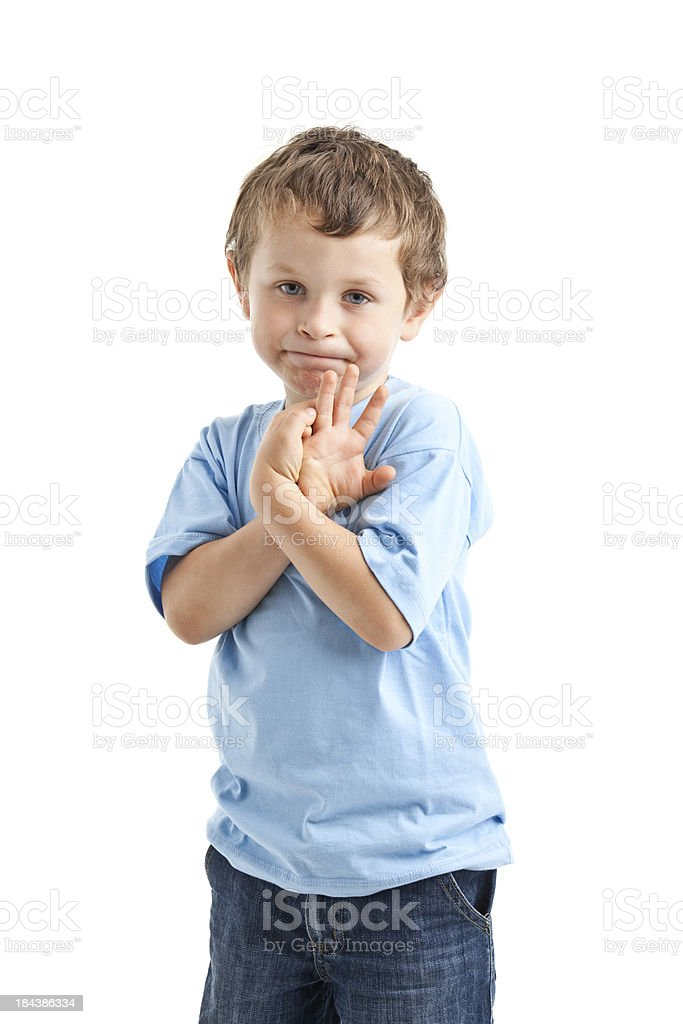 funny portrait of small boy stock photo