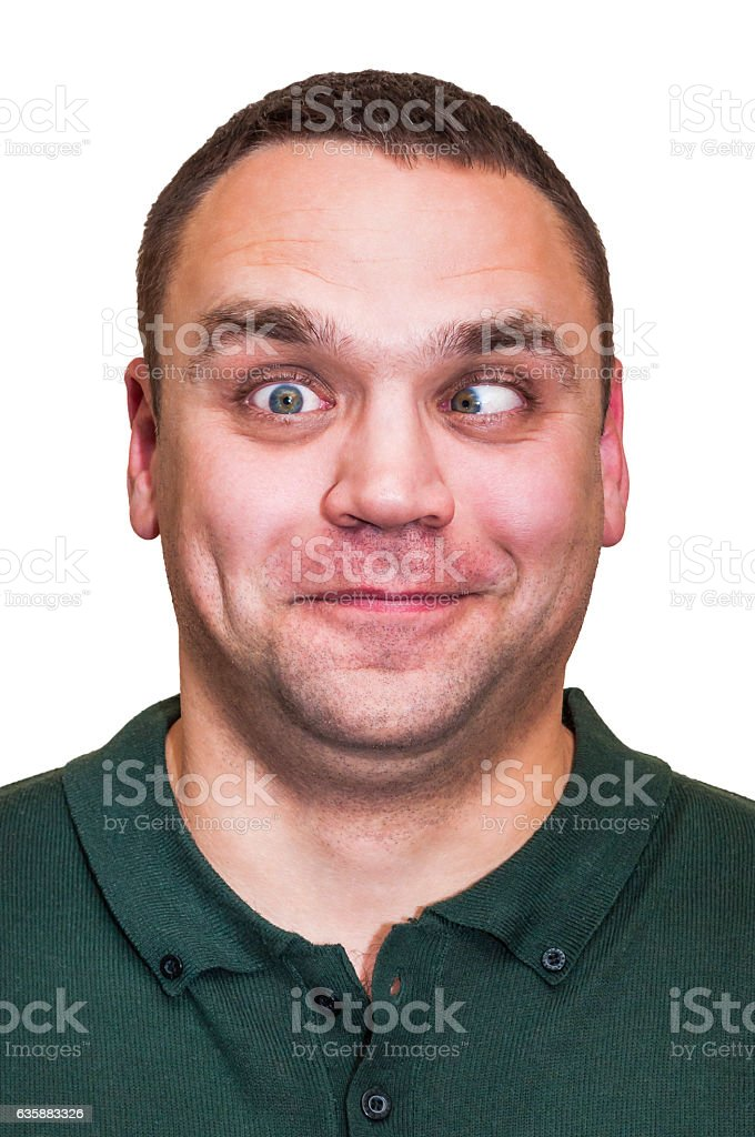 Funny, positive, squinting with ine eye man. Facial expression, emotions. stock photo