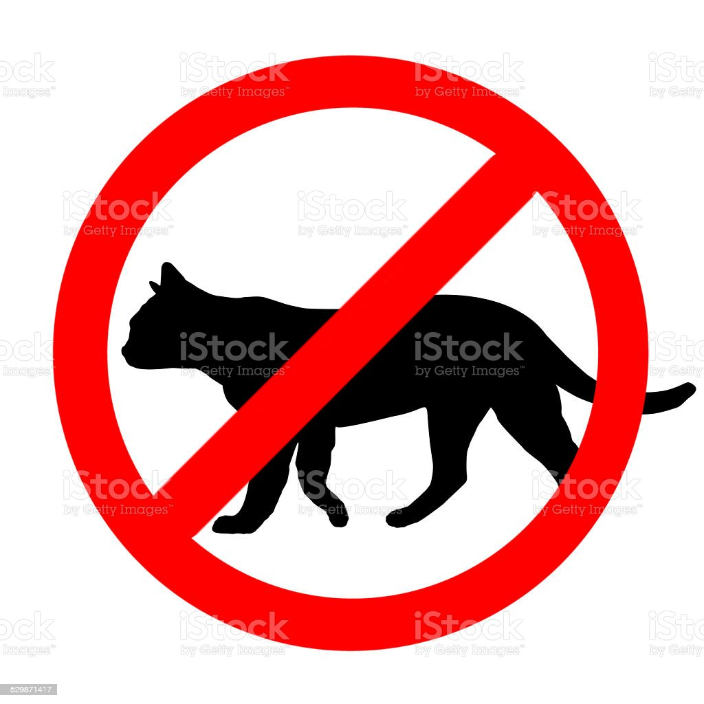 Funny prohibited road sign cats icon isolated on white stock photo