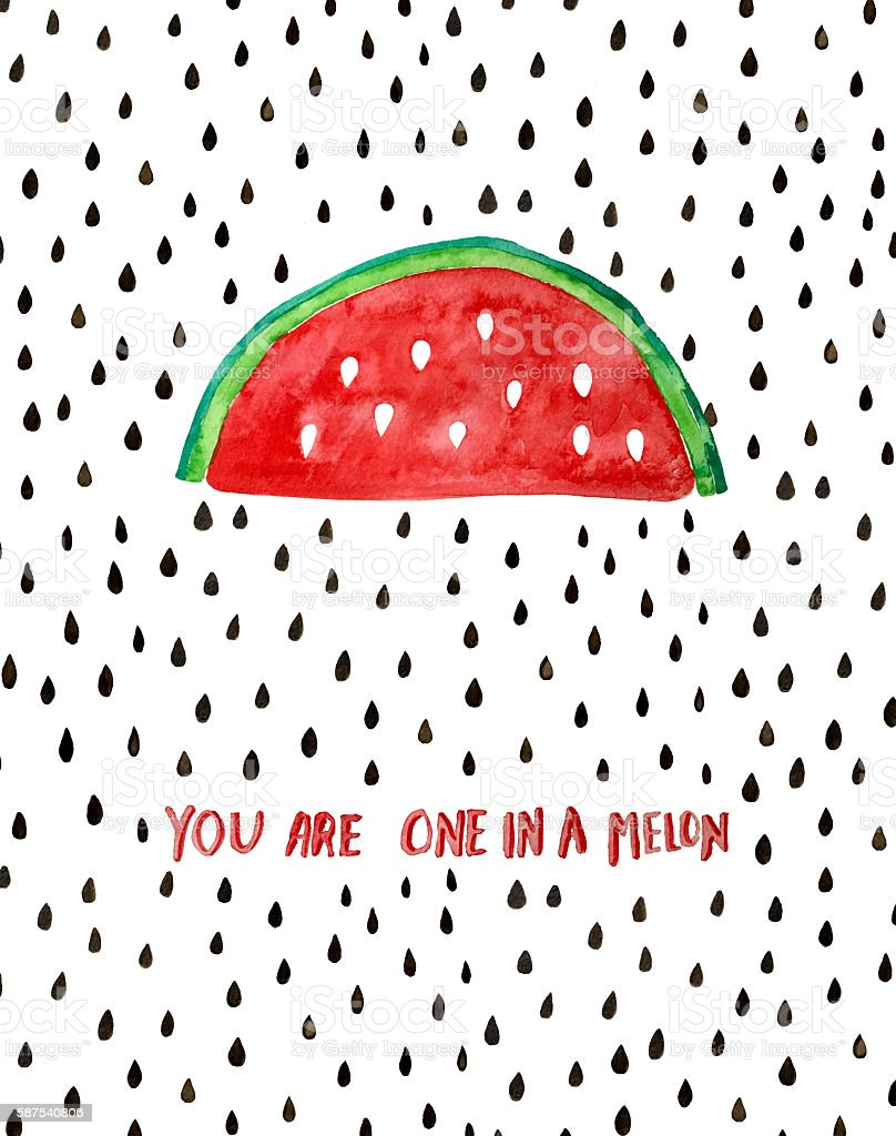 Funny pun. You are one in a melon. stock photo