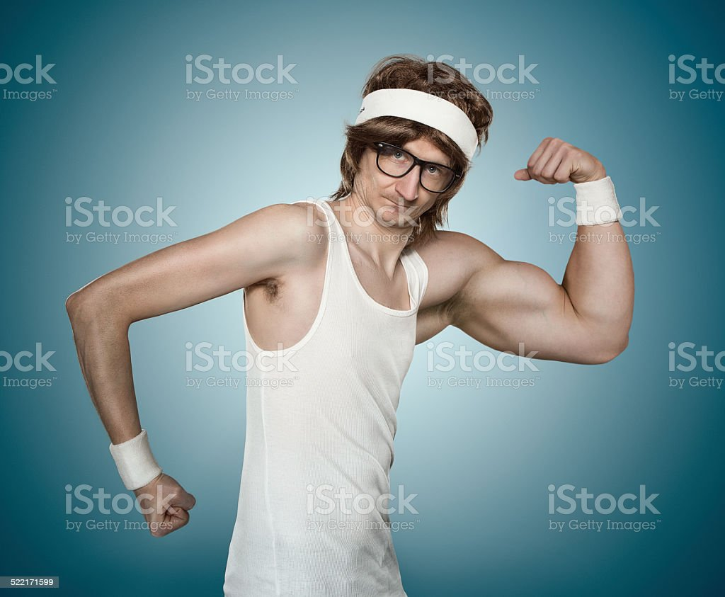 Funny retro macho man stock photo