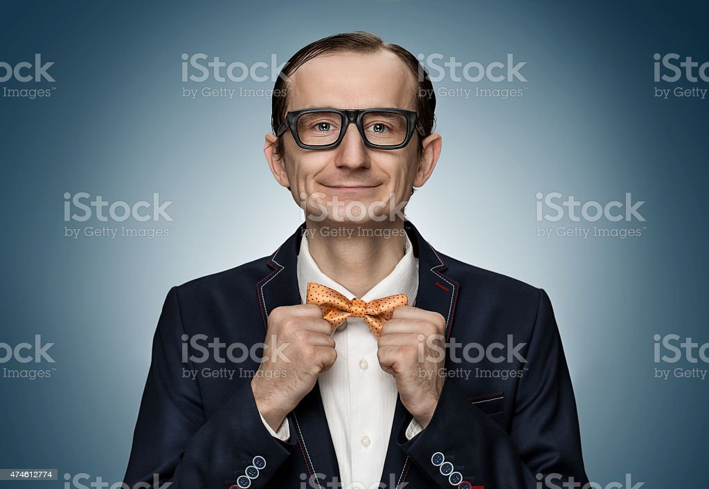Funny retro nerd preparing for a date stock photo