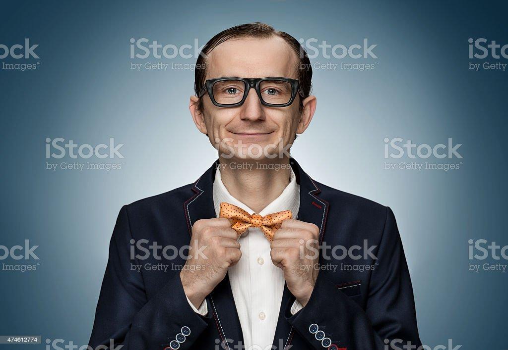 Funny retro nerd preparing for a date stock photo