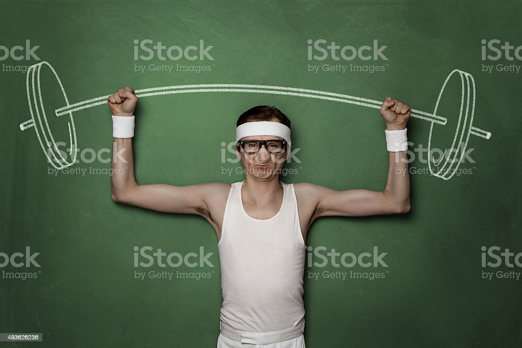 Funny retro sport nerd stock photo