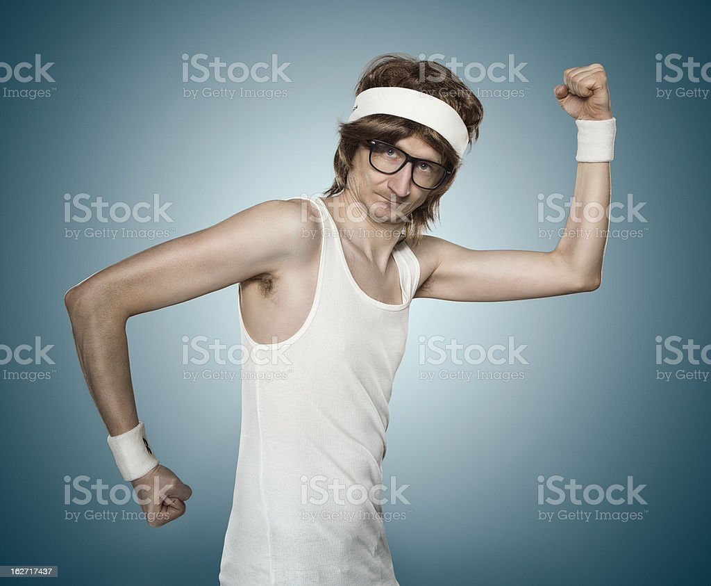 Funny retro sports nerd stock photo