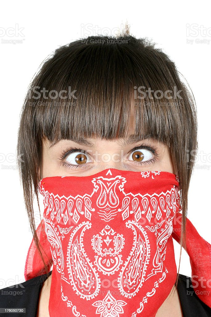 Funny rogue girl in red bandanna royalty-free stock photo