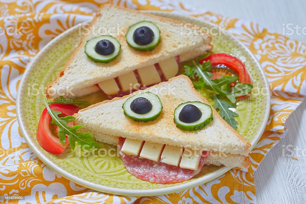 Funny sandwich for kids lunch stock photo