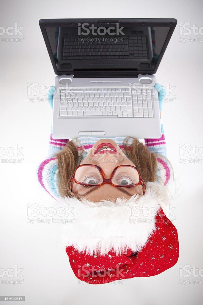 Funny Santa girl royalty-free stock photo