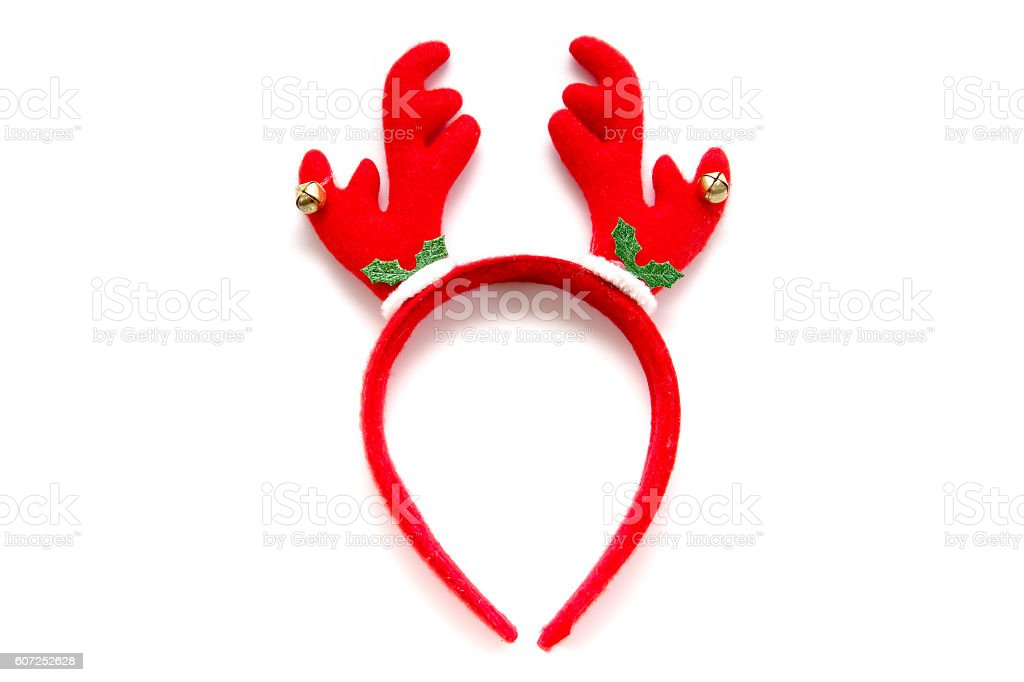 Funny Santa reindeer headband horns isolated on white background stock photo