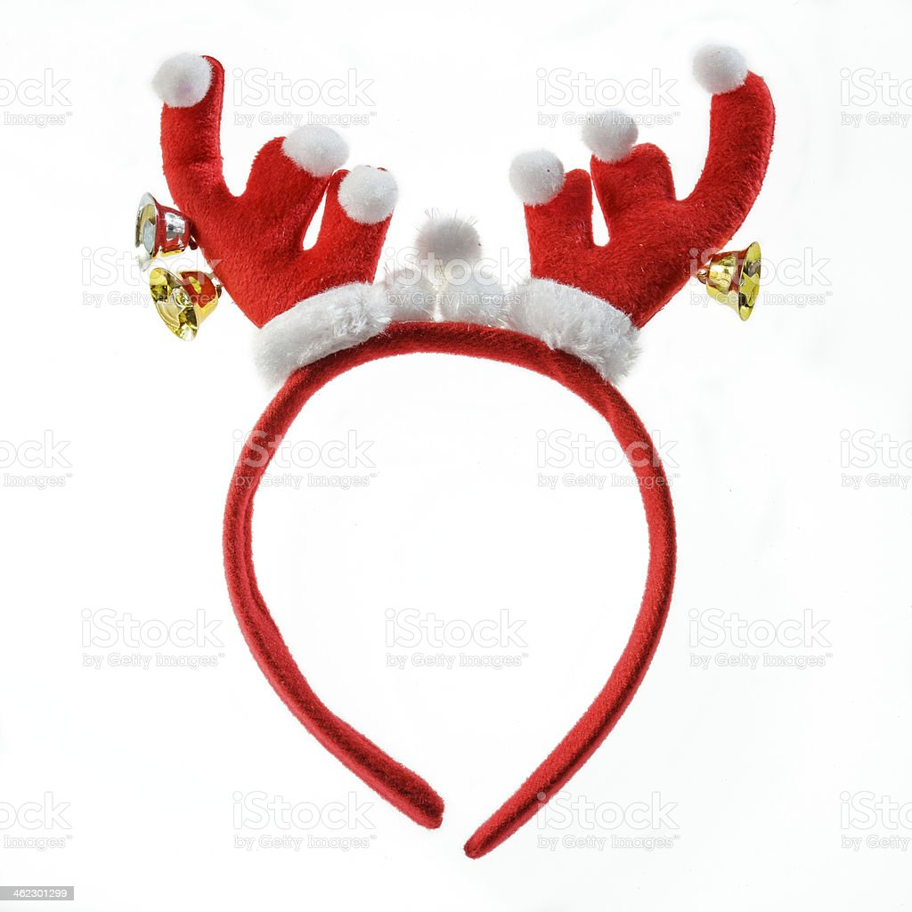 Funny Santa reindeer headband isolated on white background. stock photo