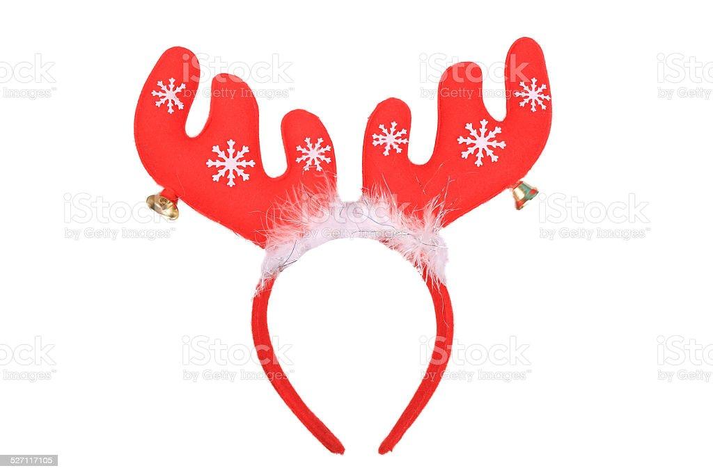 Funny Santa reindeer headband stock photo