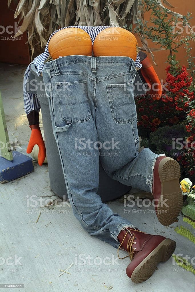 Funny Scarecrow Bent Over stock photo