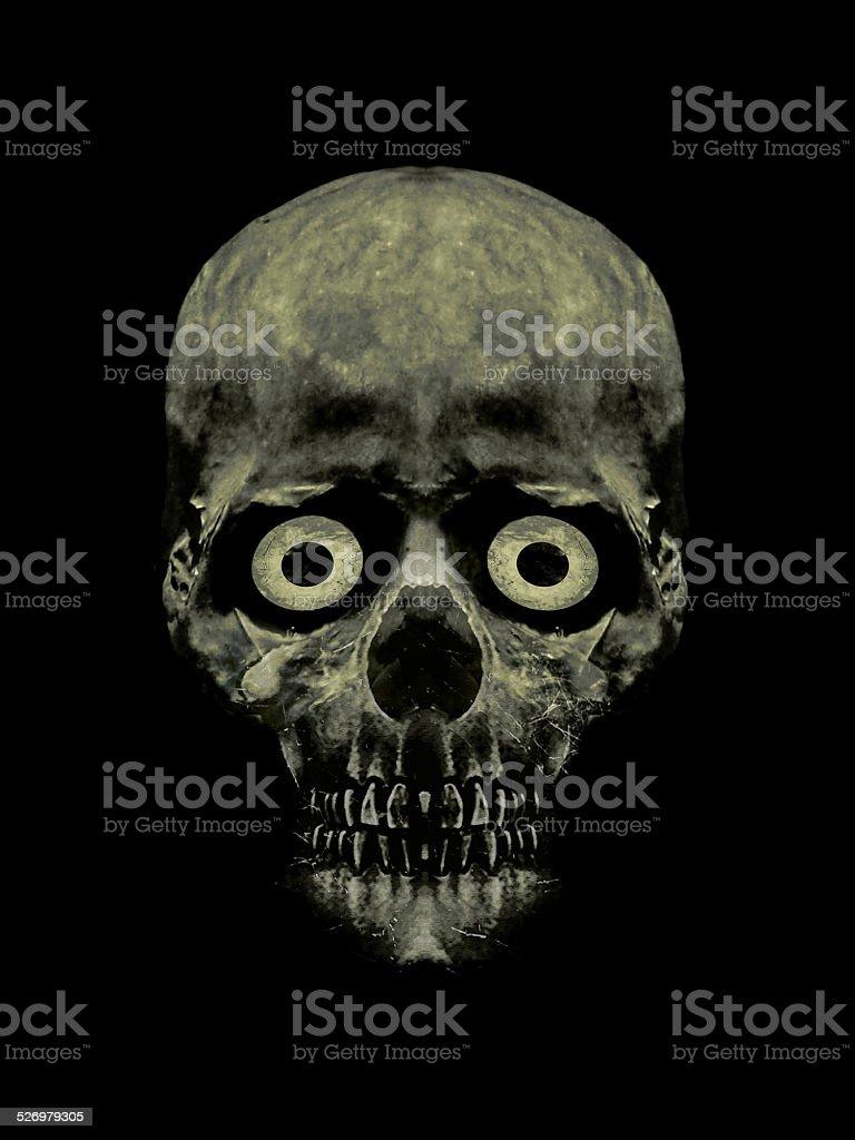 Funny Scared Skull Artwork stock photo