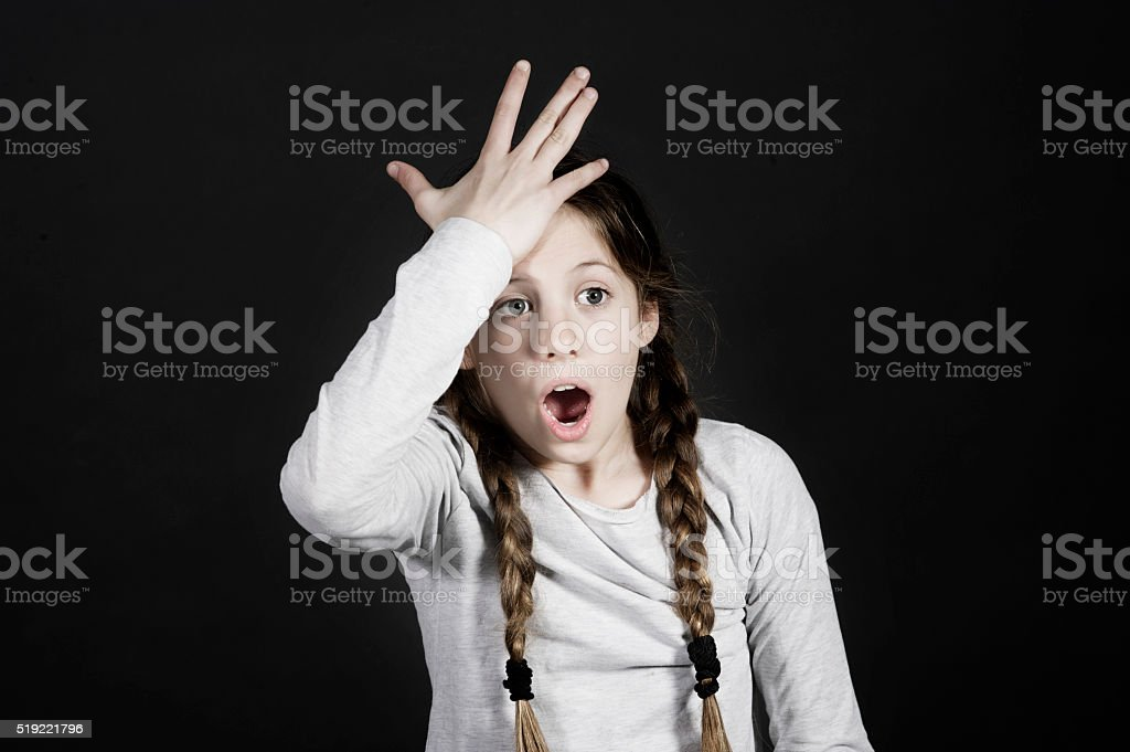 funny schoolgirl get in the swing of solution with stock photo