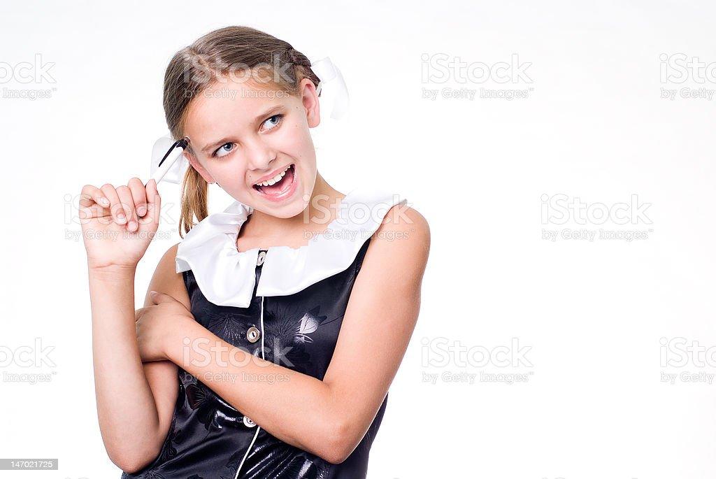Funny schoolgirl royalty-free stock photo