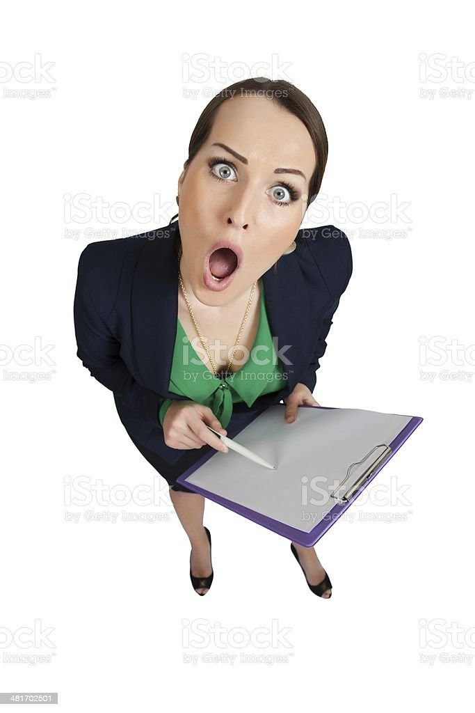 Funny secretary with a clipboard stock photo