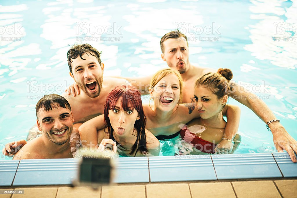 Funny Selfie In The Swimming Pool stock photo