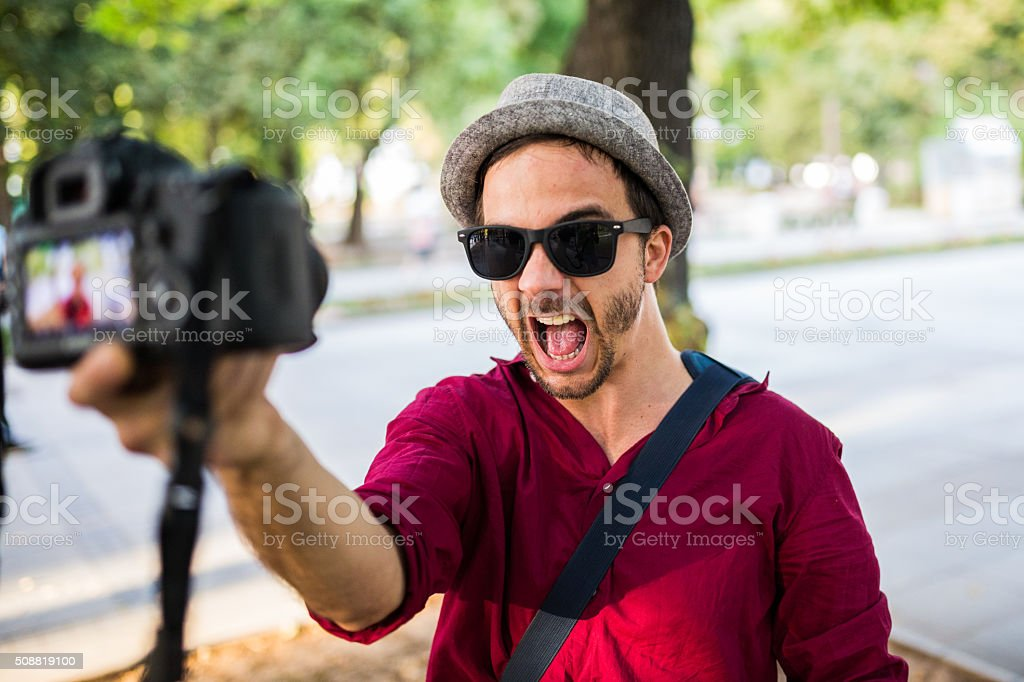 Funny selfie stock photo