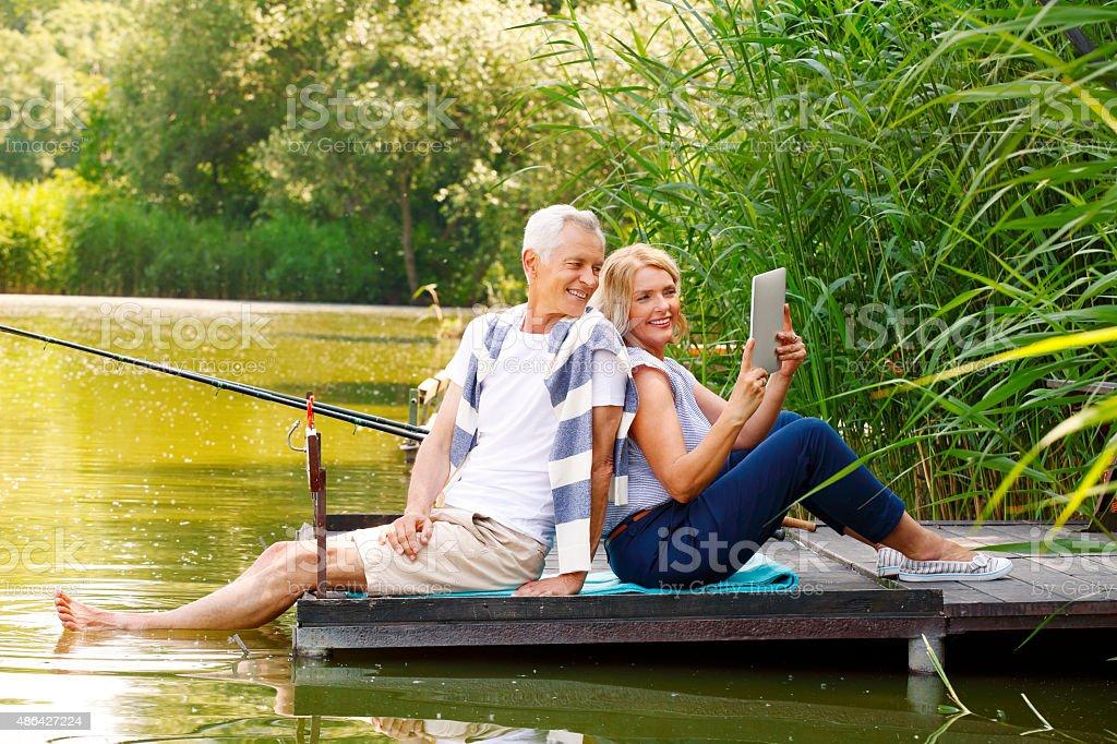 Funny senior people stock photo