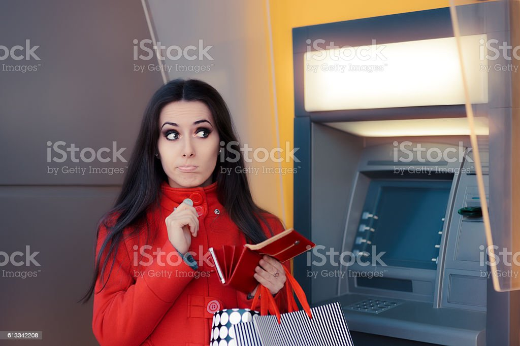 Funny Shopping Woman Holding a Penny stock photo