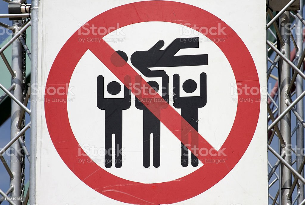 Funny sign  No Crowd surfing royalty-free stock photo