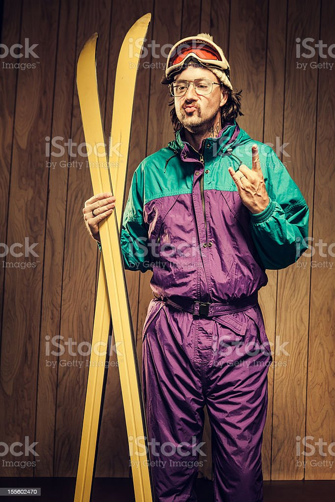 Funny Ski Bum in Lodge stock photo