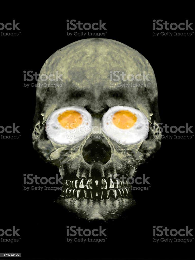 Funny Skull with Fried Egg Eyes stock photo