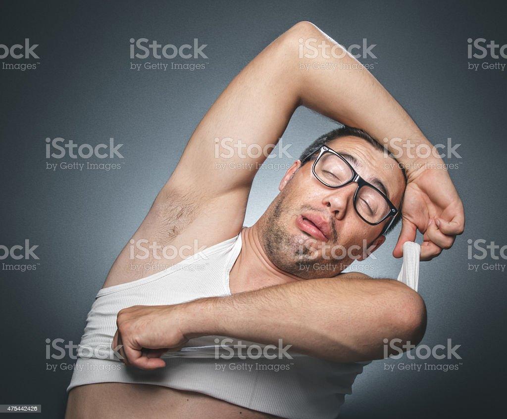 Funny sleepy tired man stock photo