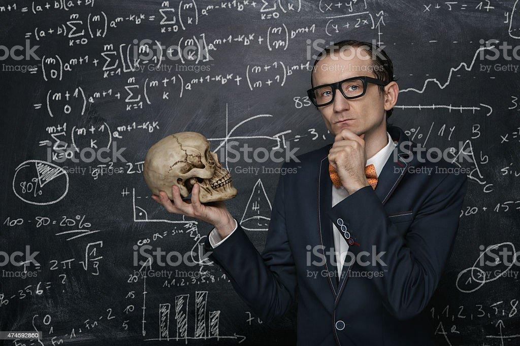 Funny smart nerd stock photo