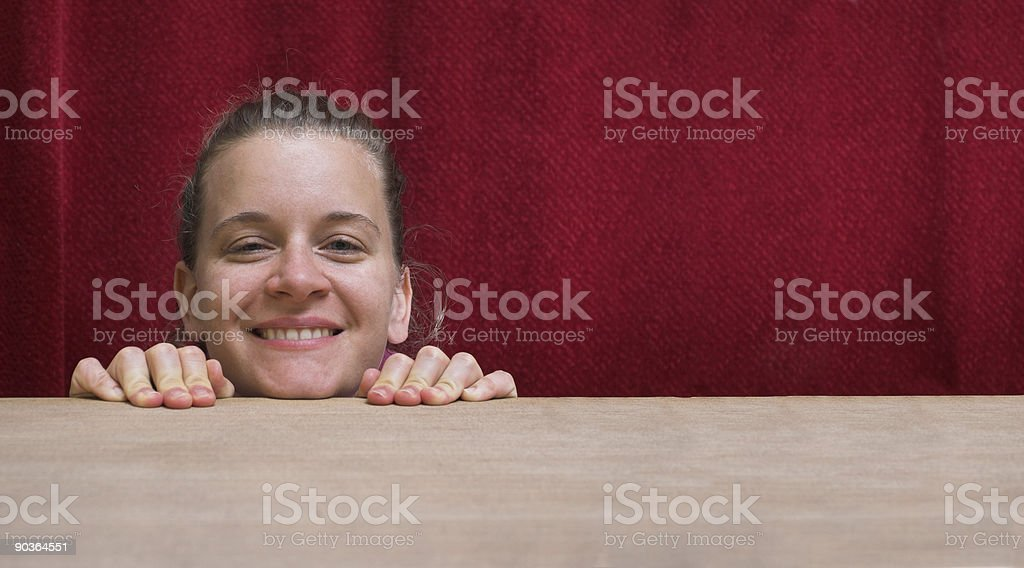 Funny smiling woman face stock photo