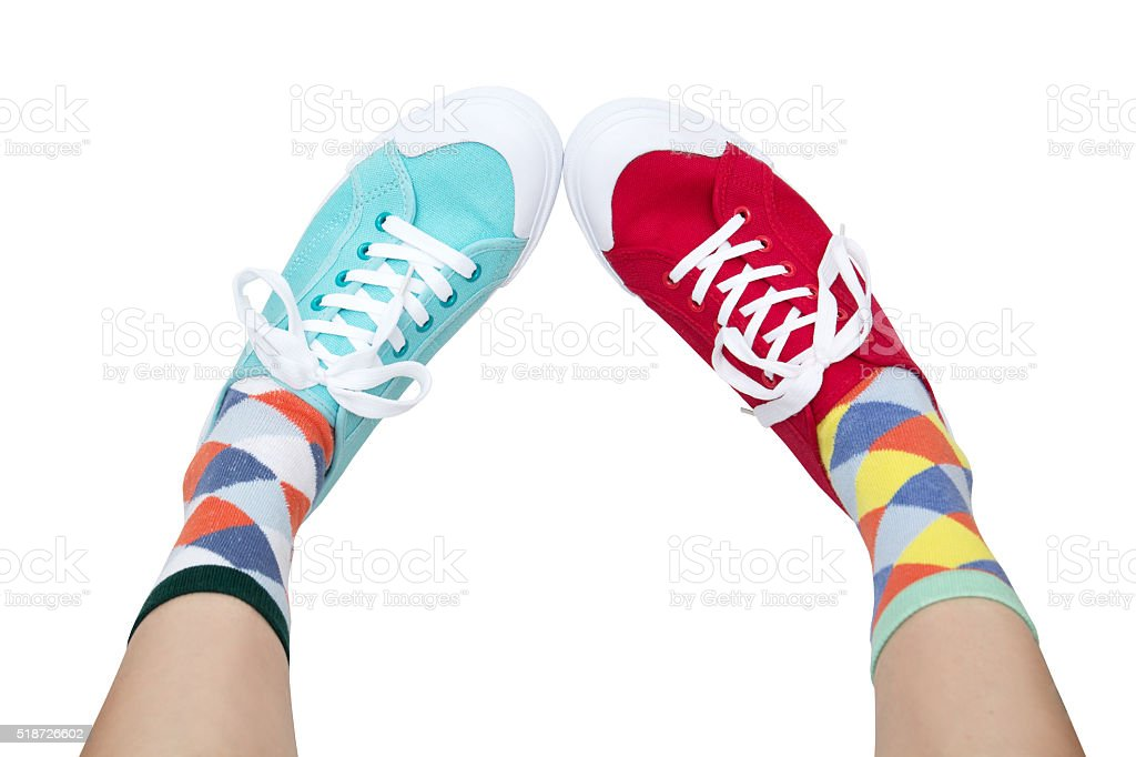 funny sneakers and socks stock photo