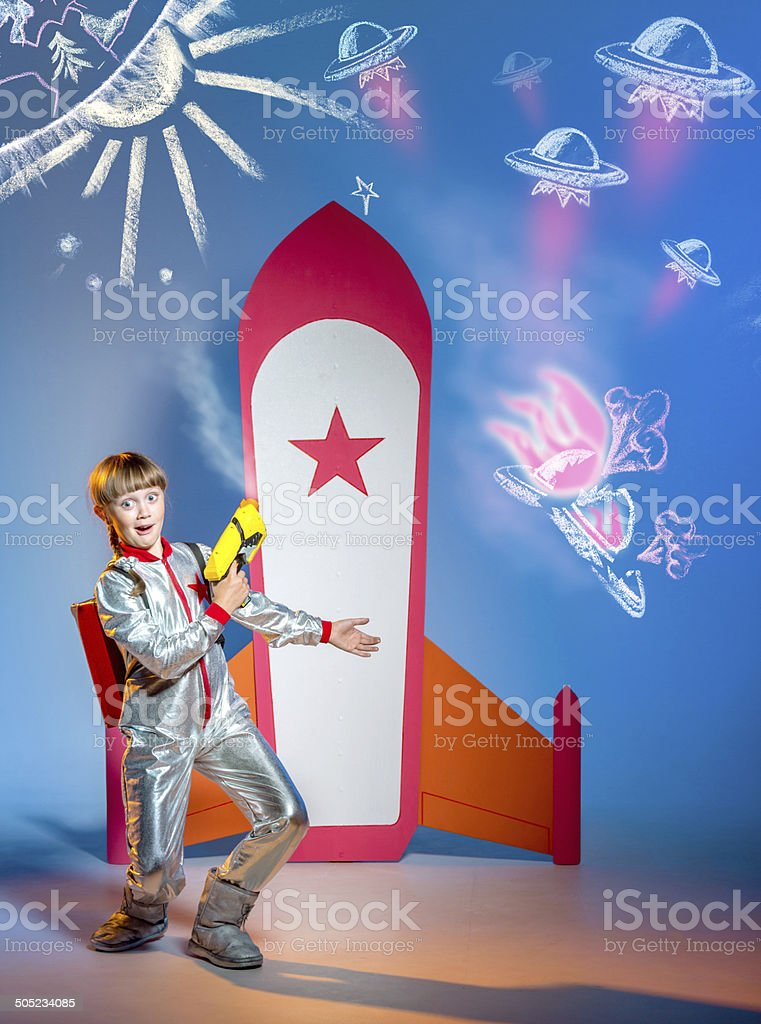 Funny space girl warrior royalty-free stock photo