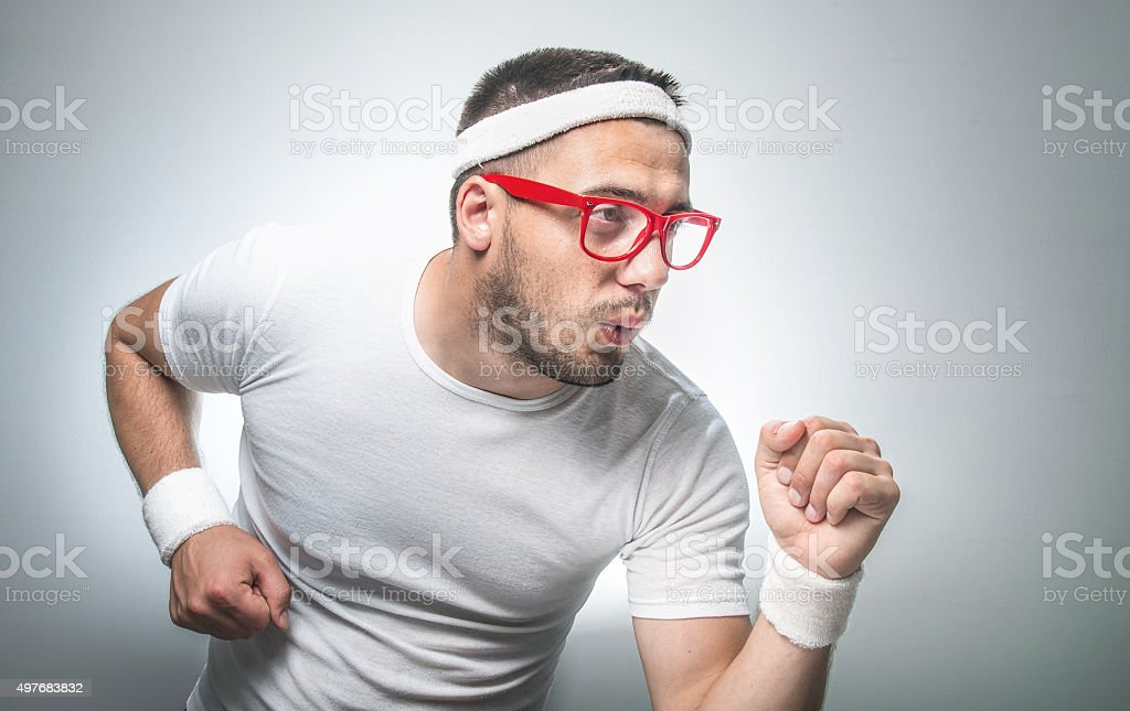 Funny sport man stock photo