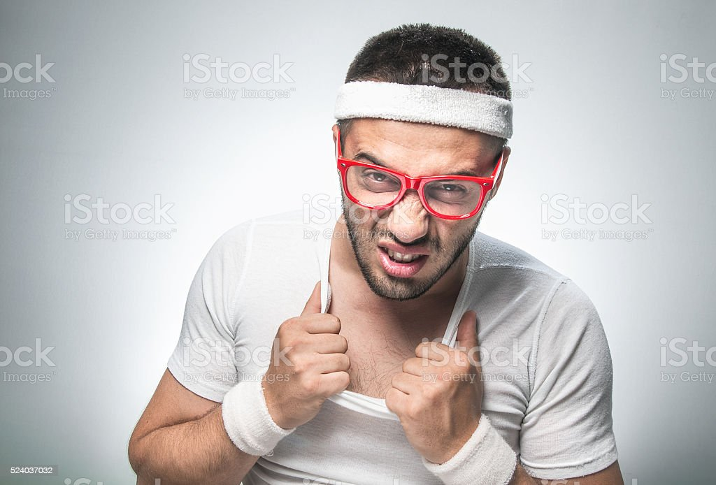 Funny sport man stock photo