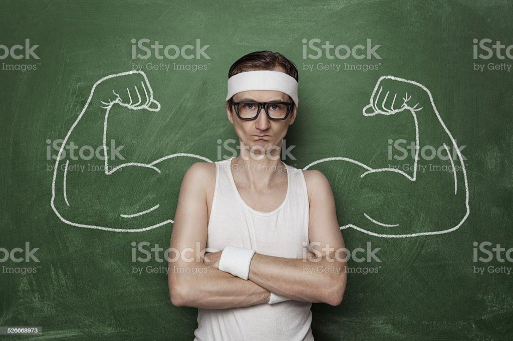 Funny sport nerd stock photo