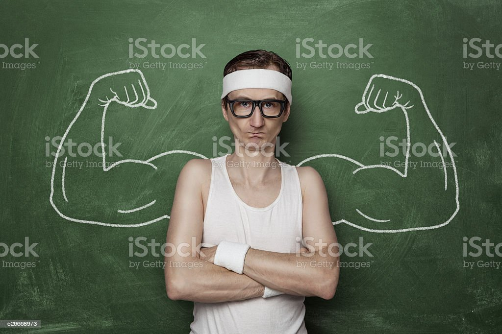 Funny sport nerd stock photo